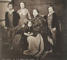 The Prince of Wales, the Princess Royal, Princess Alice, the Queen and Prince Alfred, photographed by Roger Fenton in 1854