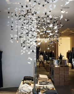 origami bird installation by Elle Muliarchyk in collaboration with Rebecca Taylor