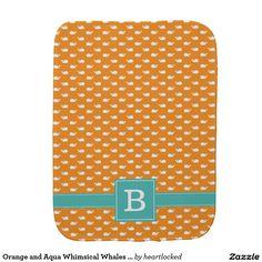 Orange and Aqua Whimsical Whales Pattern Monogram Burp Cloth