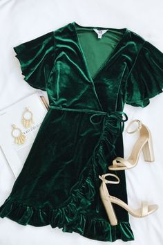 West Village Dark Green Velvet Wrap Dress - Bree Long - - West Village Dark Green Velvet Wrap Dress beautiful rich deep forest hunter green wrap velvet short sleeve dress metallic gold chunky heel shoes what to wear to Christmas mass holiday party - Trendy Dresses, Nice Dresses, Short Sleeve Dresses, Wrap Dresses, Short Sleeves, Maxi Dresses, Bell Sleeves, Maxi Skirts, Casual Dresses
