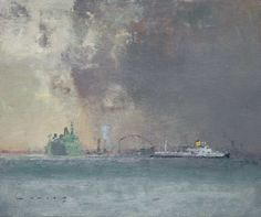 Liner and Car Ferry, Venice FRED CUMING RA Oil on panel 10 x 12 ins