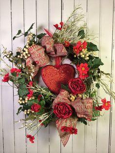 Valentine Wreath for Door, Red Heart Valentine's Day Wreath, Floral Valentine Wreath