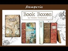 A contemporary, fresh Mixed Media project by Monica Marianini to transform a box into a book, with leather effects and rust effects. Steampunk Book, Steampunk Clothing, Mixed Media Tutorials, Altered Boxes, Diy Tutorial, Bookends, Decoupage, Scrap, Miniatures