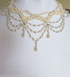 Cream Clustered Bead Patterns Teardrop Victorian Choker Necklace Champagne BNIP! | eBay