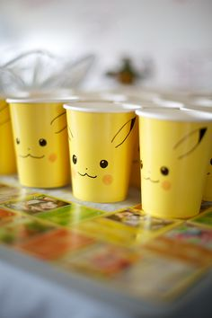 DIY Pikachu Cups, Creative Pokemon Birthday Party Ideas via Pretty My Party