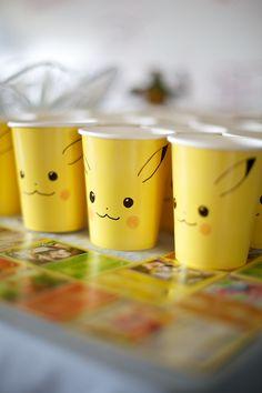 DIY Pikachu Cups, Creative Pokemon Birthday Party Ideas via Pretty My Party
