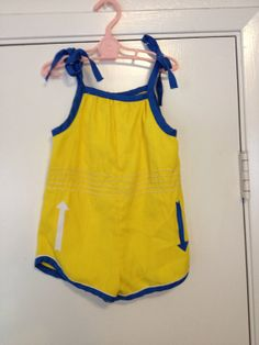 Yellow jumper romper size 3T arrow detail by BetsyFernVintage, $10.00