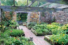 Evan Williams garden in barn Brick Walkway, Walkway Ideas, Veg Garden, Edible Garden, Garden Plants, Vegetable Gardening, Raised Garden Beds, Raised Beds, Dream Garden