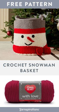 Free crochet pattern using Red Heart With Love yarn. Dial up your festive décor or use this heartwarming basket to carry gifts, holiday treats and more! Crochet Christmas Decorations, Crochet Christmas Gifts, Crochet Decoration, Christmas Poinsettia, Christmas Bells, Christmas Angels, Christmas Tree, Crochet Home, Diy Crochet