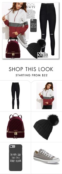 """""""SheIn 56 - Color Block Raglan Sleeve Hoodie With Pocket [Pt.2]"""" by daniela-dias01 ❤ liked on Polyvore featuring Boohoo, MICHAEL Michael Kors, Black, Disney and Converse"""