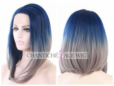 Women's Ombre Short Bob Blue Grey Synthetic Hair Heat Resistant Lace Front Wigs #Unbranded #Bob