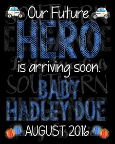 Police Officer Themed Pregnancy Announcement Chalkboard- Baby Reveal- Photo Prop- Hero- Parents To Be by SouthernElegancePE on Etsy