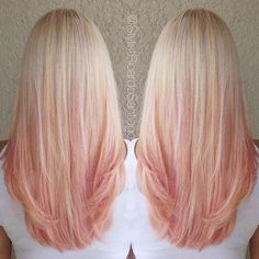 Wow thats mazingStrawberry Peach Hair hair ombre blond hair hairstyles ombre hair colored hair hair colors hair ideas hair trends 2 toned Ombre Hair Color, New Hair Colors, 2 Tone Hair Color, Blonde To Pink Ombre, Pastel Blonde, Ombre Rose, Ash Blonde, Peach Hair, Blonde Rose Gold Hair