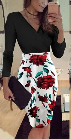 Casual Slim V-Neck Print Stitching Mini Dress. #minidress #shortdresses #dressesforwomen #dresses Off The Shoulder Double Ruffle Tankini Top - Red Plum Embroidery Flora