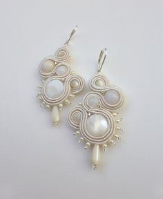 White Soutache Earrings with Natural Shell and Mother of Pearl Beads