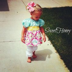 SweetHoney Girls Blue Pink Yellow Love Bird Peasant by SweetHoney2, $30.00    Infant toddler girls spring bird dress!