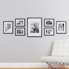 Fotomuur van 7 houten fotokaders | Fotowand zwart