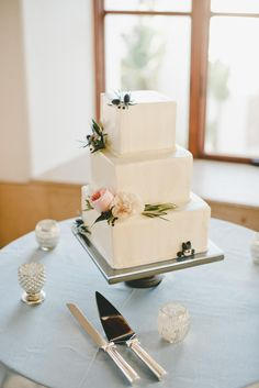 Three-Tier Square Wedding Cake