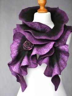Scoodie, Nuno Felting, Needle Felting, Felt Art, Mulberry Silk, Green And Purple, Olive Green, Purple Colors, Purple Flowers