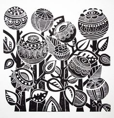 Night Garden Lino Print by Jools Yasities Beautiful round flowers in a Zentangle style Motifs Textiles, Textile Patterns, Stamp Carving, Linoprint, Motif Floral, Floral Patterns, Zentangle Patterns, Zentangles, Arte Popular