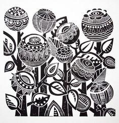 Night Garden Lino Print #linoprint #handprinted #blockprint