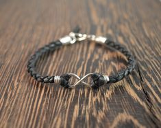 Infinity Bracelet Set- Sterling Silver and Black Deer Hide Leather by CatMHorn on Etsy