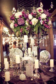 flower candelabras w/ crystals