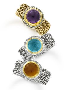 Anniversary mesh cocktail rings in citrine, purple amethyst and blue topaz.