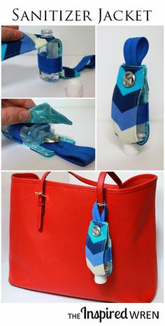 TUTORIAL: Hand Sanitizer Jacket This custom Hand Sanitizer Jacket makes a great gift for teachers, new moms, or the workplace grab-bag. Quickly sew up a bunch for the upcoming holiday season with this step by step tutorial. Sewing Hacks, Sewing Tutorials, Sewing Tips, Dress Tutorials, Solution Hydro-alcoolique, Diy Sanitisers, Easy Diy, Hand Sanitizer Holder, Diy Purse
