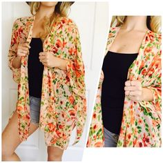 3/4 Sleeve Floral Kimono/Swim Cover Up Peachy Pink Kimono!  ONESIZE ONLY!! (Fits standard S-L) Light weight! 100% Polyester Available in sizes S M L ***PLEASE DO NOT PURCHASE THIS LISTING*** MESSAGE BELOW WITH YOUR SIZE AND I WILL MAKE A PERSONAL LISTING FOR YOU ASAP!! If you have any questions, please feel free to ask  #PoshOnLadies! Bohemian Sea Swim Coverups
