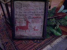 EARLY INSPIRED ~~CHRISTMAS-LARGE REINDEER 1818 SAMPLER~~ (LB) #NaivePrimitive~~Designed and Stitched by Linda B. Ebay Seller: theprimitivestitcher