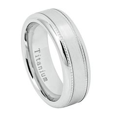 7mm White IP Silver White Titanium Raised Shiny Center Brushed Sides with Milgrain His Hers Men Wedding Engagement Anniversary Band Ring