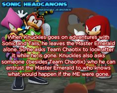☆ Sonic Headcanons ☆ — When Knuckles goes on adventures with Sonic and...