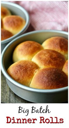 Make ahead Big Batch Dinner Rolls Baked Rolls, Rolls Rolls, Fluffy Dinner Rolls, Dinner Rolls Recipe, Round Cakes, Almond Recipes, Thanksgiving Recipes, Big Family, Food And Drink