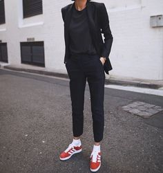 All black with a touch of red