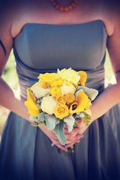 Yellow bouquet // Yellow flowers with grey dress // Photo by Troy. Yellow Grey Weddings, Yellow Wedding Flowers, Gray Weddings, Yellow Flowers, Floral Wedding, Wedding Bouquets, Rustic Wedding, Our Wedding, Wedding Stuff