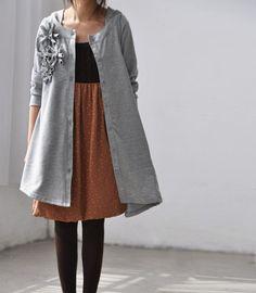 gray asymmetric Applique hood Long sleeve Shirt
