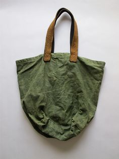 Vintage Waxed Army Duffel Tote - Olive. $120.00, via Etsy.