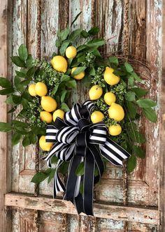 The Laurel lemon wreath for front door Summer wreath decor Front Door Decor, Wreaths For Front Door, Door Wreaths, Front Doors, Front Porch, Xmas Wreaths, Lemon Wreath, Mothers Day Wreath, Country Wreaths