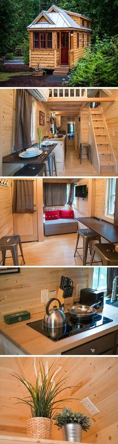 The Lincoln tiny house, a 261 sq ft tiny home at Oregon's Mt. Hood Village R… The Lincoln tiny house, a 261 sq ft tiny home at Oregon's Mt. Tiny House Company, Tiny House Plans, Tiny House On Wheels, Tumbleweed Tiny Homes, Tiny House Nation, Little Houses, Tiny Houses, Tiny House Movement, Small Places