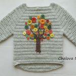 Düğmeyle Kazak Süsleme Yapılışı 1 Christmas Sweaters, Baby, Pullover, Crochet, Inspiration, Google, Fashion, Tricot, Dots