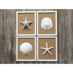 LARGE Wall Art 8 3/4 x 10 3/4 Inch Cottage Chic Set of Beach Wall Art,... ($98) ❤ liked on Polyvore featuring home, home decor and wall art
