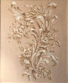 Painting of Acanthus Leaf in soft pink Grisaille tones Victorian Curtains, Plastic Art, Grisaille, Filigree Design, Classical Art, Acanthus, Of Wallpaper, Flower Art, Painting & Drawing