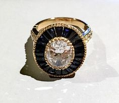 Oval vintage blue sapphire halo with milgrains sterling silver .925 AAAAA grade cubic zirconia