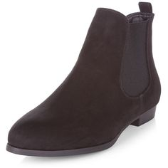 Black Suedette Chelsea Boots (£20) ❤ liked on Polyvore featuring shoes, boots, rounded toe boots, stretch boots, black round toe boots, kohl shoes and stretchy shoes
