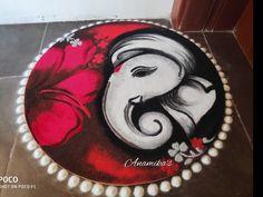 Ganpati Rangolis Simple Home Decor Easy Rangoli Designs Videos, Easy Rangoli Designs Diwali, Indian Rangoli Designs, Rangoli Designs Latest, Simple Rangoli Designs Images, Rangoli Designs Flower, Free Hand Rangoli Design, Rangoli Patterns, Rangoli Border Designs