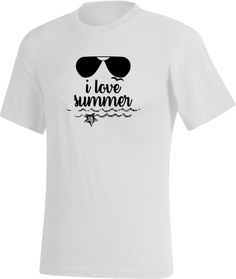 a5ba049089bede ... Tee-shirt Blanc - I love summer, J aime l été, J aime le soleil, Un  petit air de vacance, I love summer, été, soleil, vacances, mer, océan,  lunettes de ...