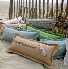 Pillows with sayings.