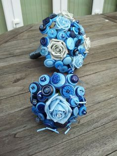 Blue dream Button Bouquets. For sale from Perfect Moments Wedding Planner
