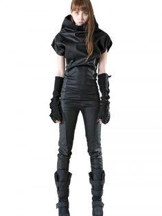 High Collar Denim Stretch Jumpsuit - Lyst #Fashion